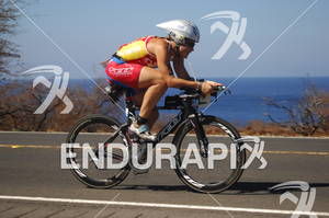 An athlete riding in the bike portion of the 2010 Ford Ironman World Championship.