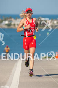 Magali Tisseyre in the run portion of the 2010 Foster Grant Ironman World Championship 70.3 in Clearwater,FL.
