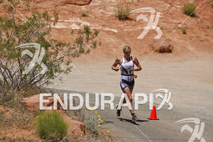 Jodie Swallow running in Pioneer Park on the run portion of the 2011 Ford Ironman St. George Utah May 7, 2011.