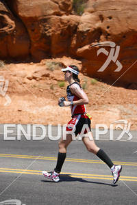 Jackie Arendt heads out of Pioneer Park on the run portion of the 2011 Ford Ironman St. George Utah May 7, 2011.