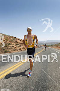 Mathias Hecht heads back into St. George as he leads the pro men in the 2011 Ford Ironman St. George Utah May 7, 2011.