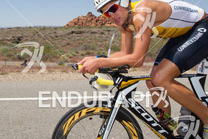 Maik Twelsiek (DEU) feeling the heat on the bike at the 2011 Ford Ironman, St. George Utah