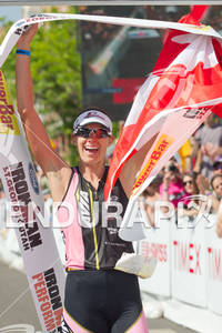 Heather Wurtele (CAN) celebrates victory at the 2011 Ford Ironman, St. George Utah