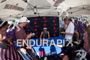 Heather Wurtele (CAN during post race press conference at the 2011 Ford Ironman, St. George Utah