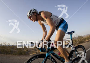 Leanda Cave rides during the Ironman 70.3 World Championships