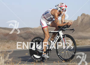 Julie Dibens rides during the Ironman 70.3 World Championships