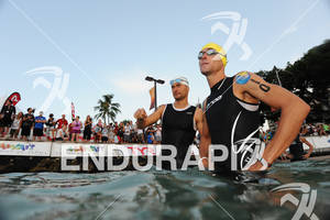 Georg Potrebitsch (left) and Andreas Raelert before the swim start of the 2011 Ford Ironman World Championship in Kailua-Kona. HI, October 8 2011
