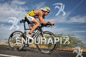 Pete Jacobs competing in the bike portion of the 2011 Ford Ironman World Championship in Kailua-Kona. HI
