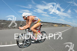 Faris Al-Sultan competing in the bike portion of the 2011 Ford Ironman World Championship in Kailua-Kona. HI