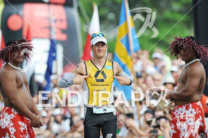 Timo Bracht crosses the finish line at the 2011 Ford Ironman World Championship in Kailua-Kona,HI. October 8, 2011.