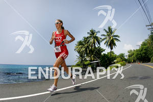 Chrissie Wellington competing in the run portion of the 2011 Ford Ironman World Championship in Kailua-Kona, HI. October 8, 2011.