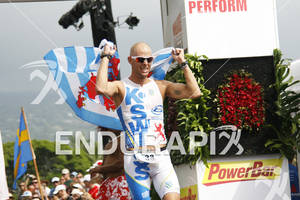 Dirk Bockel at the finish line of the 2011 Ford Ironman World Championship in Kailua-Kona, HI. October 8, 2011.