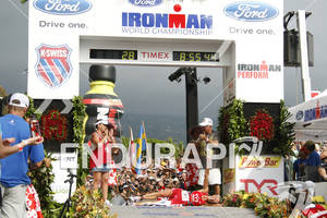 Chrissie Wellington World Champion at the finish line of the 2011 Ford Ironman World Championship in Kailua-Kona, HI. October 8, 2011.