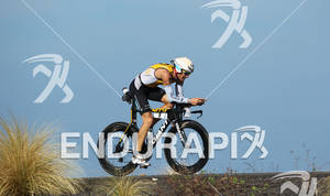 Timo Bracht of Germany on the bike at the 2011 Ford Ironman World Championship in Kailua-Kona, Hawaii. 8 October 2011.