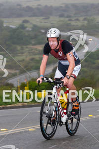 Paul Ambrose climbs one of the many hills at the  Ironman 70.3 California on March 31, 2012  in Oceanside, CA