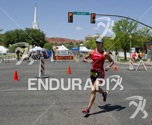 Meredith Kessler competing in the run portion of the Ironman St. George in St. George, Utah May 5, 2012.