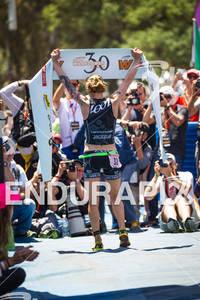 Heather Jackson sets a new course record in her win at the Avia Wildflower Triathlon on May 5, 2012 at Lake San Antonio, CA
