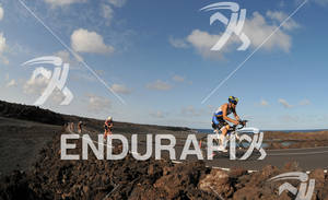 Athletes in El Golfo on the bike portion of the 2012 Ironman Lanzarote May 19, 2012 in Canary Islands, Spain
