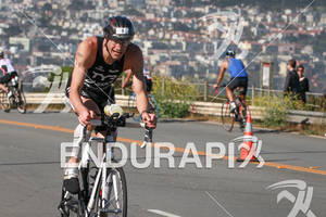 Andy Potts climbs out of the Presidio back to transition at the 2012 Escape from Alcatraz Triathlon on June 10, 2012 in San Francisco, CA