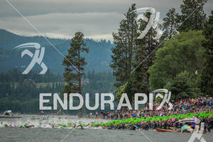 Mass swim start at the Ironman Coeur d' Alene on June 24, 2012 in Coeur d Alene, ID