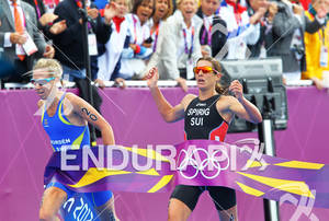Nicola SPIRIG (SUI) outsprints front of Lisa NORDEN (SWE) crossing the finish line at the 2012 London Olympics Women's Triathlon