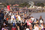 Crowds line the beach at the Escape from Alcatraz Triathlon…