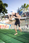 Dirk Bockel out of the water in the swim portion…