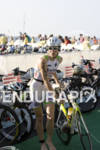 Tine Deckers heads out of transition for the bike course…