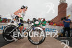 Michael Lovato exits T1 at the 2011 Memorial Herman Ironman…