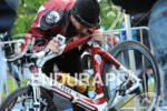 Faris Al-Sultan prepares his bike at the Frankfurter Sparkasse Ironman…
