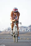 Julie Dibens (GBR) on the bike at the Marines Ironman…
