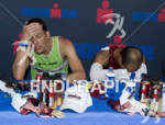 Maik Twelsiek,right, and Axel Zeebroek show signs of pure exhaustion…