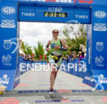 Malaika Homo crosses the finish line for second place at…