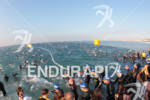 Athletes start the swim course at the 2012 Ironman France.