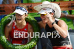 Linsey Corbin and Erika Csomor at the finish of the…