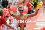 Caroline Steffen at the finish of the Ironman European Championship…