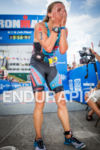 Jennie Hansen is overcome with emotion at the finish line…