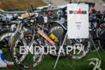 Andy Potts' Kestrel awaits in the bike transition area at…