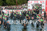 Competitors enter the water at the 2012 Ironman Lake Placid…