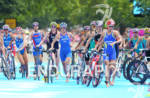 Olympic women running through transition at the 2012 London Olympics…