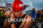 A focused Sarah Piampiano prepares for the swim at the…