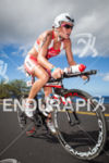 Caroline Steffen bikes up to Hawi at the Ironman World…