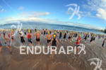 Athletes enter water to start the swim at the 2012…