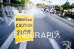 Caution sign at the Ironman 70.3 Miami in Miami, USA…