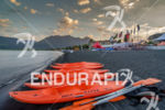 Safety kayaks prior to race start at the Ironman 70.3…