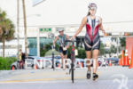 Triathlete Luisanna Rodriguez heading out of the transition to bike…