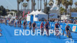 Elite women race through transition on bikes at the 2013…