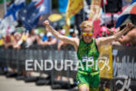 Heather Jackson celebrates her win at the Wildflower Triathlon on…