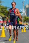 American Jason Pedersen running at 2013 Vila Velha ITU Triathlon…
