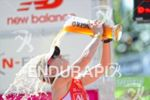 Caroline Steffen celebrates at the finish line at the DATEV…